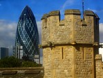 Tower of London, with the Gherkin in the background